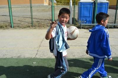 School sports coaching in Mongolia